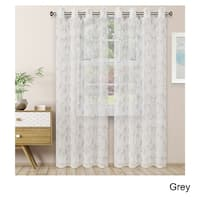 Superior Embroidered Scroll Sheer Grommet Curtain Panel Pair