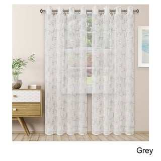 Link to Superior Embroidered Scroll Sheer Grommet Curtain Panel Pair Similar Items in Window Treatments