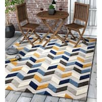 "Well Woven Modern Geometric Chevron Indoor Outdoor Area Rug High-Low Pile Carpet - 7'10"" x 9'10"""
