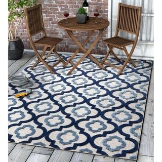 "Well Woven Modern Geometric Trellis Indoor Outdoor Area Rug High-Low Pile Carpet - 7'10"" x 9'10"""