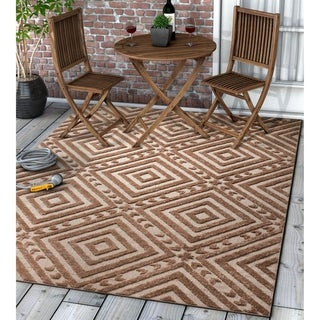 "Well Woven Modern Geometric Trellis Indoor Outdoor Area Rug High-Low Pile Carpet - 5'3"" x 7'3"""