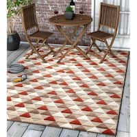 "Well Woven Modern Geometric Mosaic Triangle Indoor Outdoor Area Rug High-Low Pile Carpet - 5'3"" x 7'3"""