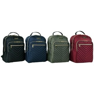 Kenneth Cole Reaction Chevron Quilted Dual Compartment 15in Laptop Business Backpack With Gold Hardware