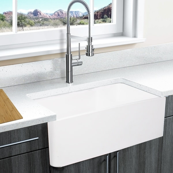 shop highpoint collection white solid surface reversible farmhouse sink free shipping today. Black Bedroom Furniture Sets. Home Design Ideas