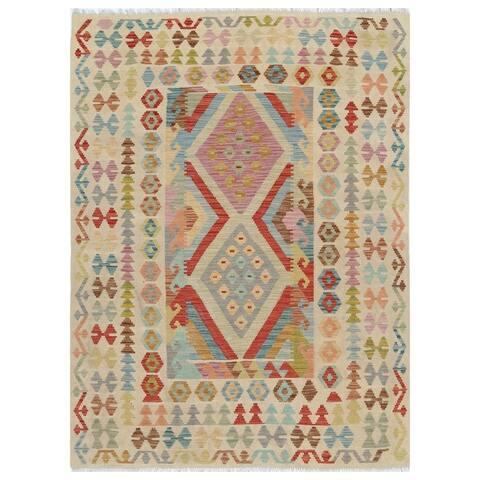 Handmade One-of-a-Kind Wool Kilim (Afghanistan) - 4'10 x 6'6