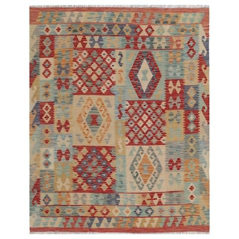 Handmade One-of-a-Kind Wool Kilim (Afghanistan) - 5'2 x 6'6