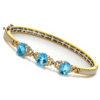 Michael Valitutti Palladium Silver Oval Sky Blue Topaz Three-Stone Hinged Bangle Bracelet
