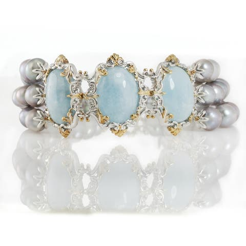 Michael Valitutti Palladium Silver Milky Aquamarine and Grey Pearl Bracelet