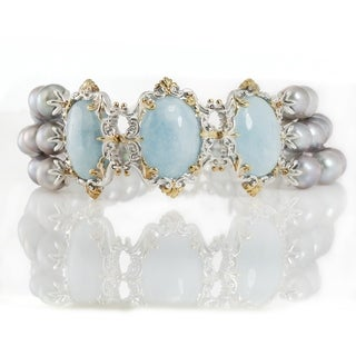 Michael Valitutti Palladium Silver Milky Aquamarine and Grey Pearl Bracelet