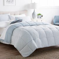 BROOKSIDE Striped Reversible Chambray Down Alternative Comforter Set Twin Size in Calm Sea (As Is Item)
