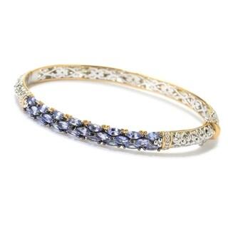 Michael Valitutti Palladium Silver Marquise Tanzanite Three-Row Hinged Bangle Bracelet