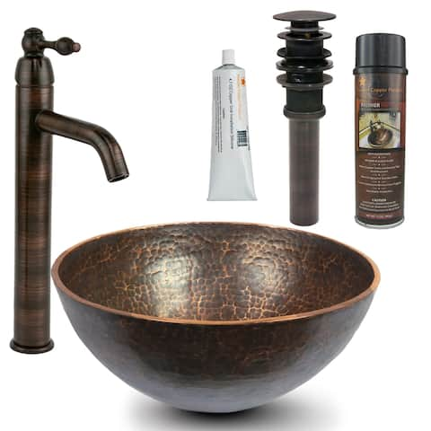 Premier Copper Products BSP1_PV13RDB Vessel Sink, Faucet and Accessories Package