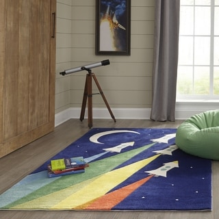 Momeni Lil Mo Whimsy Rocket Hand Tufted Polyester Navy Area Rug - 2' x 3'