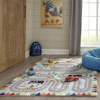 Momeni Lil Mo Whimsy Racetrack Handmade Polyester Light Blue Area Rug - 8' x 10'