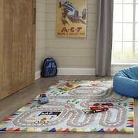 Momeni Lil Mo Whimsy Racetrack Hand Tufted Polyester Light Blue Area Rug - 2' x 3'
