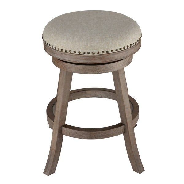 Cortesi Home Sadie Fabric and Driftwood Backless Swivel Counter Stool (As Is Item)