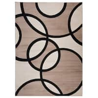 Modern Abstract Circles Area Rug Beige - 3'3 x 5'