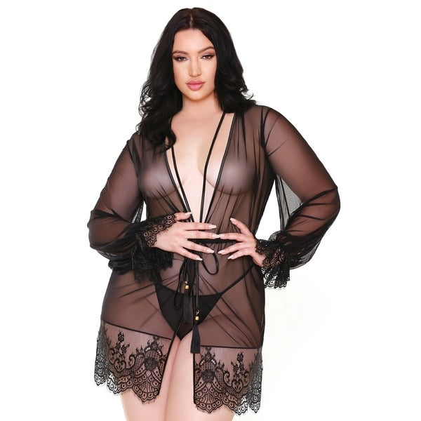 18d00842e Shop Fantasy Lingerie Plus Size Lace Robe   G-String - Free Shipping ...