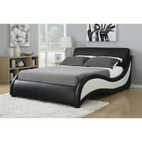 Niguel Contemporary Black and White Upholstered Bed