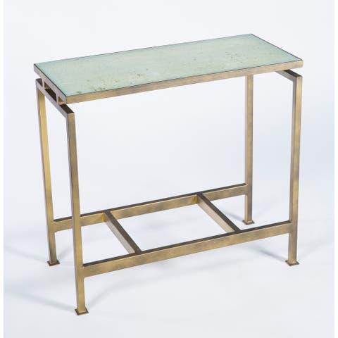 Handmade Slender Antique Bronze End Table (Mexico)
