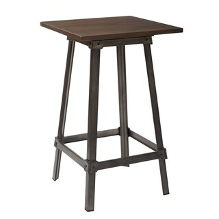 OSP Designs Indio Pub Table in Matte Gunmetal Finish with Vintage Ash Walnut Top
