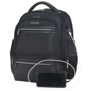 Kenneth Cole Reaction Multi-Pocket Triple Compartment 17in Laptop Business Backpack With USB Charging Port & RFID