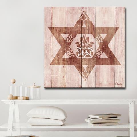 Ready2HangArt Inspirational 'Star of David Hamsa' Wrapped Canvas Judaica Wall Art - Brown
