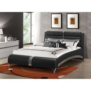 Havering Contemporary Black and Sterling Upholstered Bed