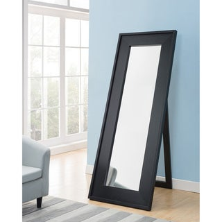 """Furniture of America Nory Contemporary Black 72-inch Standing Mirror - 28""""L x 1.5""""W x 72""""H"""