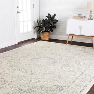 "Fine Antique Inspired Ivory/ Blue Distressed Floral Medallion Area Rug - 9'2"" x 12'2"""