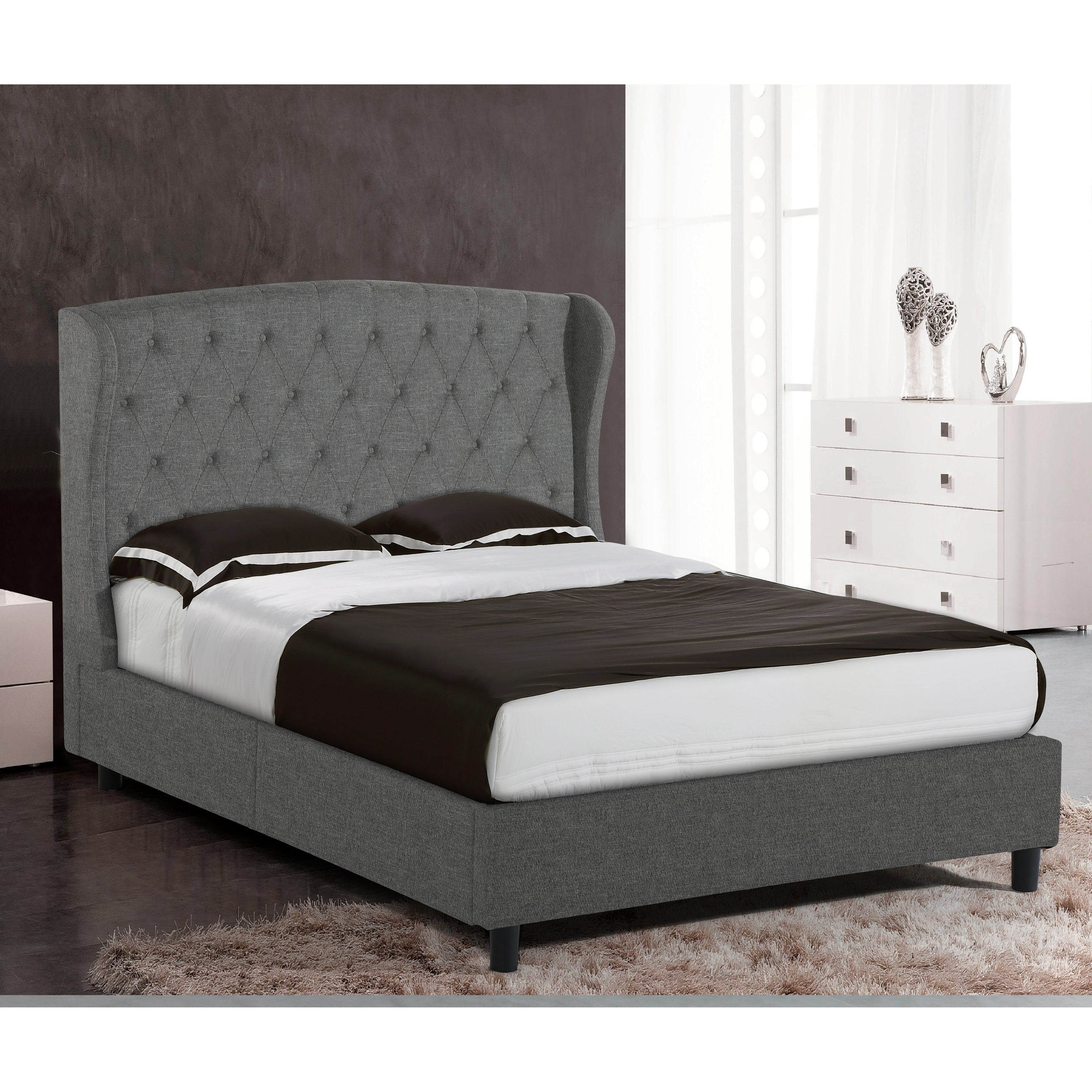 Alka Dark Grey Upholstered Platform Bed With Wings And Button Stitching Accent Queen Size Overstock 22079841
