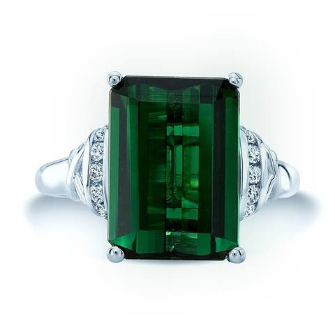 Green Tourmaline And Diamond Ring In 14k White Gold