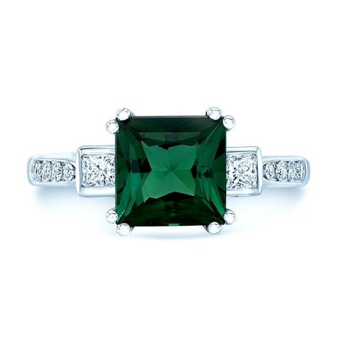 Green Tourmaline And Diamond Step Ring In 18k White Gold