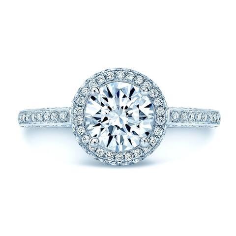 Preset Diamond Halo Engagement Ring In 14k White Gold (1.01 Gia Ctr)