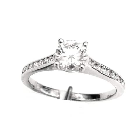 Diamond Slim Channel Engagement Ring In 18k White Gold