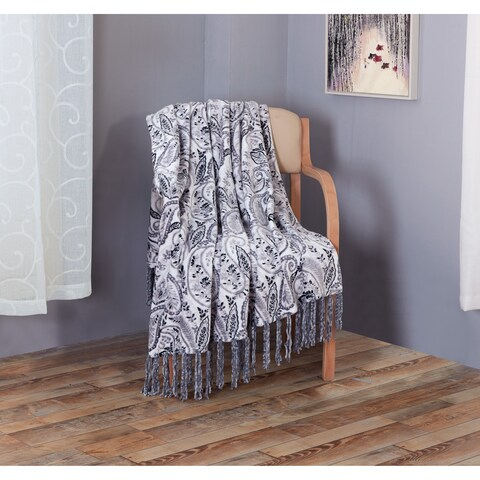 RT Designers Collection Emery Printed 50 x 60 in. Flannel Throw w/ Fringes
