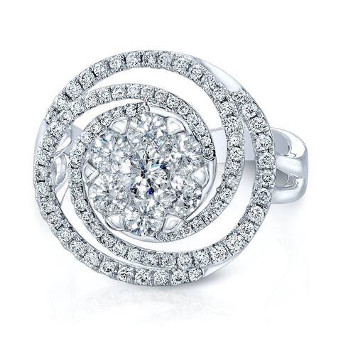 Diamond Circle Swirl Ring In 14k White Gold 2.15ctw