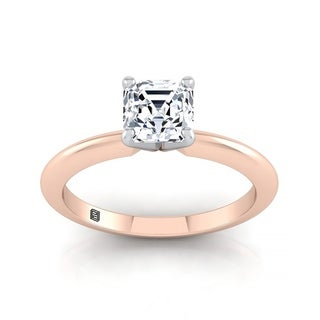 Asscher Cut Diamond Solitaire Engagement Ring With Ultra Thin Knife Edge Shank In 14k Rose Gold