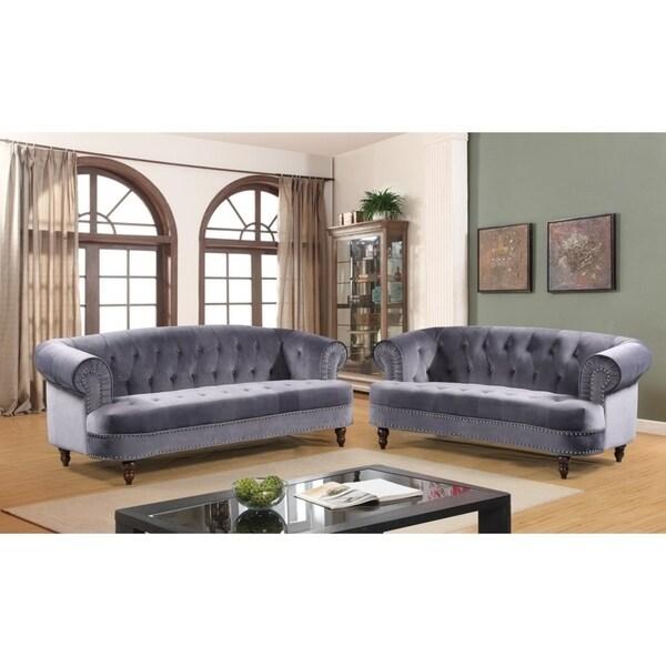 Walnut Chesterfield Sofa Set