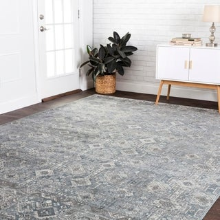 "Fine Antique Inspired Grey Slate Distressed Geometric Area Rug - 9'2"" x 12'2"""