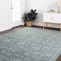 Fine Antique Inspired Dusty Blue Distressed Floral Area Rug - 9'2 x 12'2
