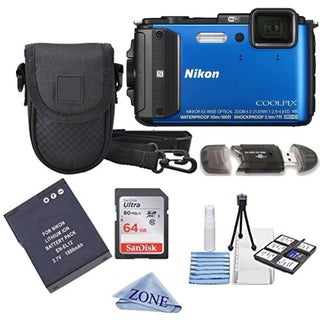 Nikon COOLPIX AW130 16.0-Megapixel 5X Optical Waterproof Digital Camera + Extra Battery, 64GB Memory Card+ Accessory Bundle