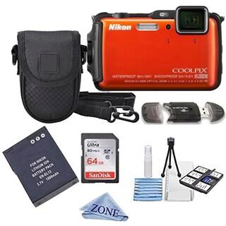 Nikon COOLPIX AW130 16.0-Megapixel 5X Optical Waterproof Digital Camera + Extra Battery, 64GB Memory Card+ Accessory Bundle (Option: Orange)