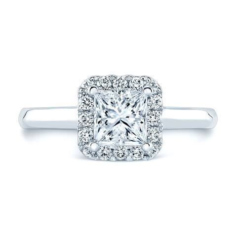 Round Diamond Halo Engagement Ring (1ct Pr Ctr) In 14k White Gold (1-1/4 Ct.tw.)