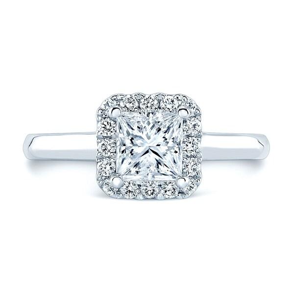 Round Diamond Halo Engagement Ring (1ct Pr Ctr) In 14k White Gold (1-1/4 Ct.tw.)