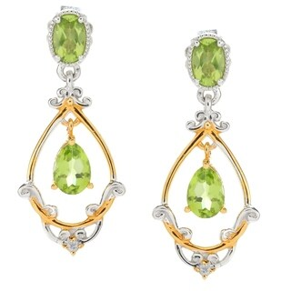 Michael Valitutti Palladium Silver Peridot & White Sapphire Dangle Earrings