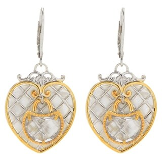 Michael Valitutti Palladium Silver White Mother-Of-Pearl & White Quartz Heart Drop Earrings