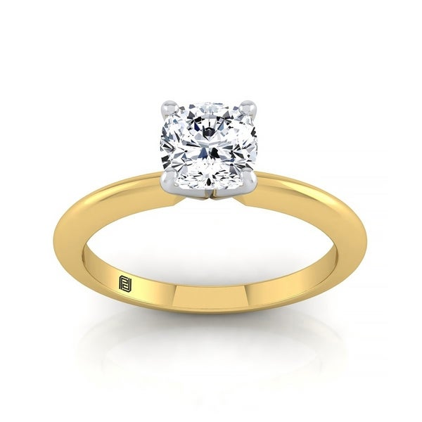 Cushion Cut Diamond Solitaire Engagement Ring With Ultra Thin Knife Edge Shank In 14k Yellow Gold