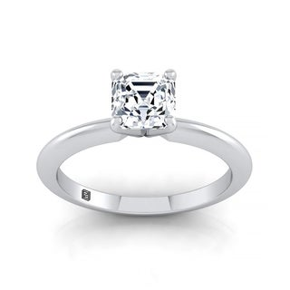 Asscher Cut Diamond Solitaire Engagement Ring With Ultra Thin Knife Edge Shank In 14k White Gold