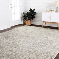 Fine Antique Inspired Grey/ Gold Distressed Medallion Area Rug - 9'2 x 12'2